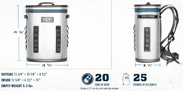 YETI Cooler Outside Dimensions